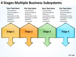 Business Cycle Diagram 4 Stages Multiple Subsystems Powerpoint Templates