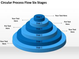 Business Cycle Diagram Circular Process Flow Six Stages Powerpoint Templates