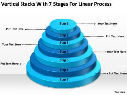 Business Cycle Diagram Vertical Stacks With 7 Stages For Linear Process Powerpoint Slides