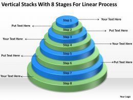 Business Cycle Diagram Vertical Stacks With 8 Stages For Linear Process Powerpoint Slides