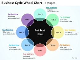 business cycle wheel chart 8 sgates with big black circle powerpoint templates 0712