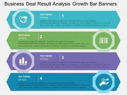 Business Deal Result Analysis Growth Bar Banners Flat Powerpoint Design