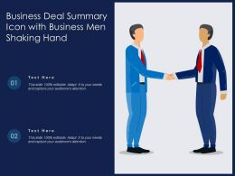 Business Deal Summary Icon With Business Men Shaking Hand