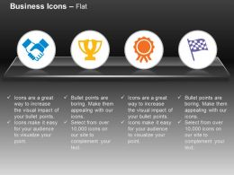 Business Deal Trophy Ribbon Flag Ppt Icons Graphics
