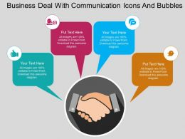 Business Deal With Communication Icons And Bubbles Flat Powerpoint Design