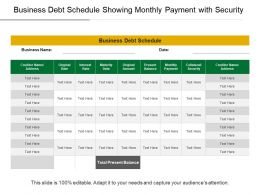 Business Debt Schedule Showing Monthly Payment With Security