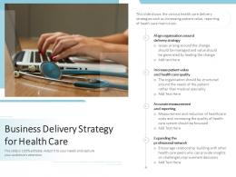 Business Delivery Strategy For Health Care