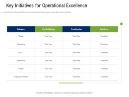 Business Development And Marketing Plan Key Initiatives For Operational Excellence Ppt Sample
