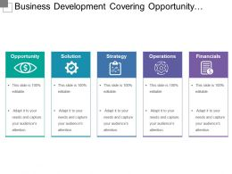 Business Development Covering Opportunity Solution Strategy And Financials