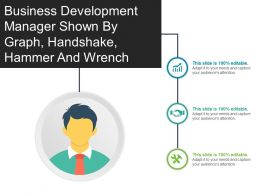 Business Development Manager Shown By Graph Handshake Hammer And Wrench