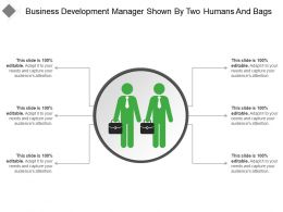Business Development Manager Shown By Two Humans And Bags