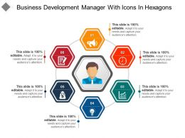 Business Development Manager With Icons In Hexagons