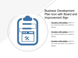 Business Development Plan Icon With Board And Improvement Sign