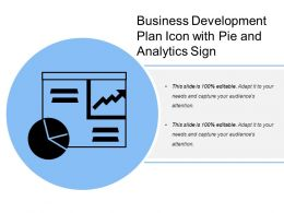 Business Development Plan Icon With Pie And Analytics Sign