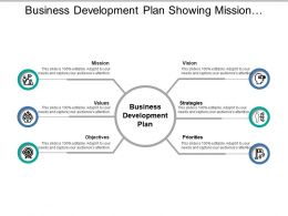 Business Development Plan Showing Mission Values Objectives And Strategies