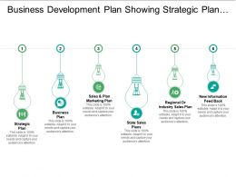 Business Development Plan Showing Strategic Plan And State Sale Plan