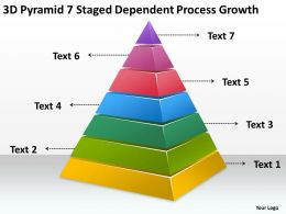 Business Development Process Diagram 3d Pyramid 7 Staged Dependent Growth Powerpoint Slides 0522