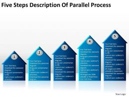 Business Development Process Diagram Five Steps Description Of Parallel Powerpoint Slides