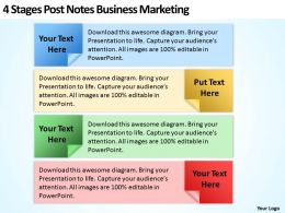 Business Development Process Flowchart 4 Stages Post Notes Marketing Powerpoint Templates