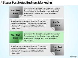 Business Development Process Flowchart 4 Stages Post Notes Marketing Powerpoint Templates