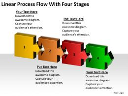 Business Development Process Flowchart Linear With Four Stages Powerpoint Slides