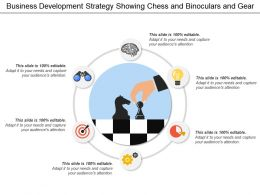 Business Development Strategy Showing Chess And Binoculars And Gear