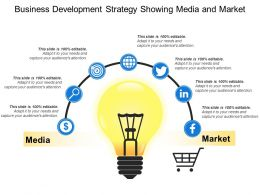 Business Development Strategy Showing Media And Market