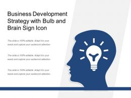 Business Development Strategy With Bulb And Brain Sign Icon