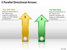 Business Diagram 2 Parallel Directional Arrows Powerpoint Slides