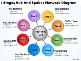 Business Diagram Chart 8 Stages Hub And Spokes Network Powerpoint Slides