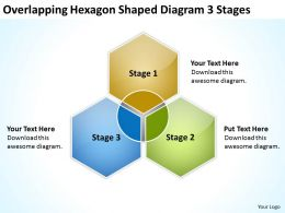 Business Diagram Examples Overlapping Hexagon Shaped 3 Stages Powerpoint Templates