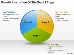 Business Diagram Growth Illustration Of Pie Chart 3 Steps Powerpoint Slides