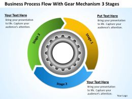 Business Diagram Process Flow With Gear Mechanism 3 Stages Powerpoint Templates