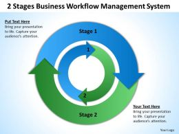 Business Diagrams 2 Stages Workflow Management System Powerpoint Templates