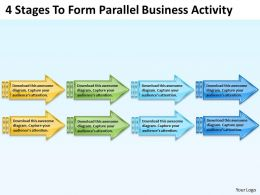 Business Diagrams 4 Stages To Form Parallel Activity Powerpoint Templates