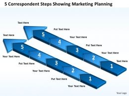 Business Diagrams 5 Correspondent Steps Showing Marketing Planning Powerpoint Templates