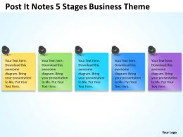 Business Diagrams Post It Notes 5 Stages Theme Powerpoint Slides 0523