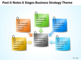Business Diagrams Post It Notes 6 Stages Strategy Theme Powerpoint Slides 0523