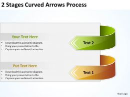 Business Diagrams Templates 2 Stages Curved Arrows Process Powerpoint Slides