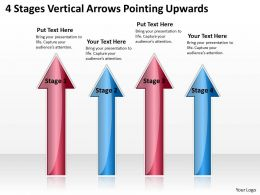 Business Diagrams Templates 4 Stages Vertical Arrows Pointing Upwards Powerpoint
