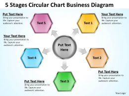 Business Diagrams Templates 5 Stages Circular Chart Powerpoint Slides