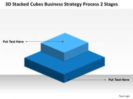 Business Diagrams Templates Stacked Cubes Strategy Process-2 Stages Powerpoint