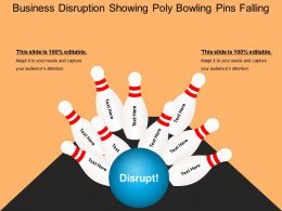 Business Disruption Showing Poly Bowling Pins Falling