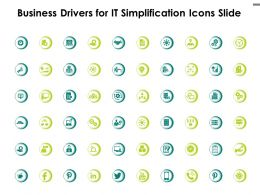 Business Drivers For IT Simplification Icons Slide Social Media Ppt Powerpoint Presentation