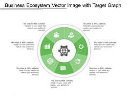 Business Ecosystem Vector Image With Target Graph Dollar Human And Handshake