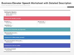 Business Elevator Speech Worksheet With Detailed Description