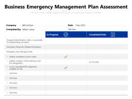 Business Emergency Management Plan Assessment
