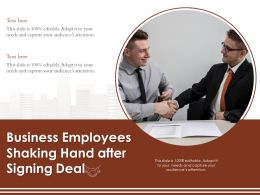 Business Employees Shaking Hand After Signing Deal