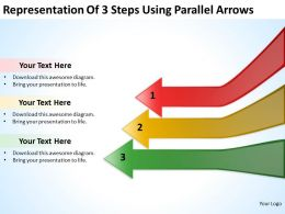 Business Entity Diagram Representation Of 3 Steps Using Parallel Arrows Powerpoint Slides