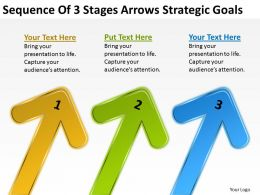 Business Entity Diagram Sequence Of 3 Stages Arrows Strategic Goals Powerpoint Slides